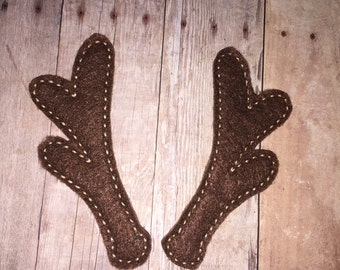 2 Pairs of Christmas Reindeer Rudolph Antlers Oversized Large Feltie Felt Embellishment Bow! Felties Applique Party