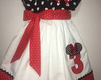 Girls Minnie Mouse Dress Peasant Twirly Dress Polka Dots Boutique Peasant Dress Outfit! Baby Toddler Infant Mickey Number Birthday Party