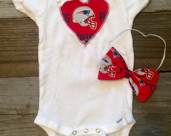 New England Patriots baby girl onesie, patriots baby girl onesie