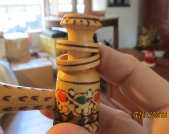 Hand Carved Wood Pipe Pyrography Decorative Collectable