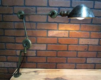 Vintage Industrial Task Lamp- EDON- Adjustable Articulating Arm Wall Sconce Work Light O. C. White Era
