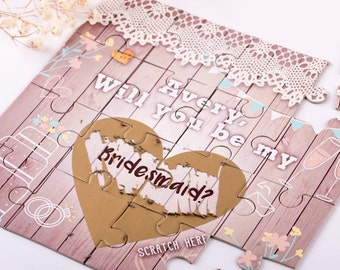 Will You Be My Bridesmaid Gift Scratch Off Puzzle Invitation. CUSTOME Will You Be My Bridesmaid Puzzle, Wedding Invitation
