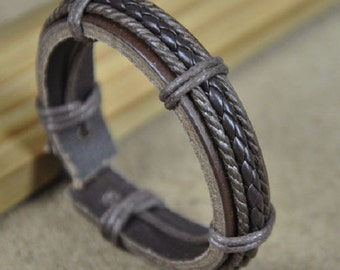 Leather Bracelet, Men's Leather and Hemp Braided Bracelet, Brown Leather Bracelet Women's Leather Braclet HB-25
