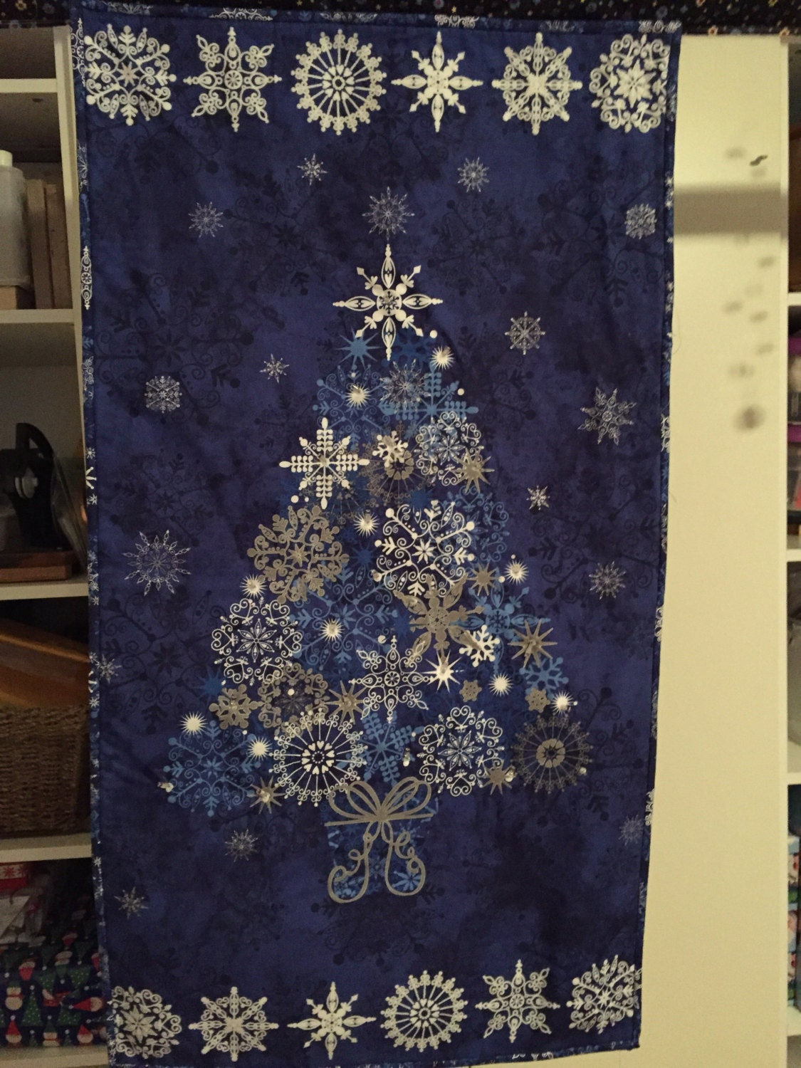Wall Hanging Christmas Tree With Lights : Wall Hanging Twinkle Lights Blue Christmas Tree