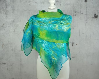nuno felted silk scarf shawl, felted shawl, felted scarf, wool scarf, wrap scarf, turquoise, teal, yellow, green- Feltmondo