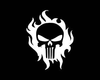 Skull Decal Skull and Flames Car Decal Skull Sticker Skull Car Decal Flame Decal Burning Skull Decal Sticker Car Truck Window Bumper Wall