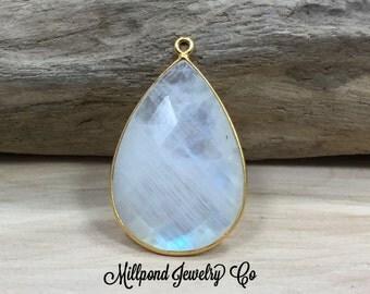 Moonstone Pendant, Gemstone Pendant, Bezel Teardrop Shaped Gemstone, Bezel Gemstone, 22K Gold Pendant, 30mm