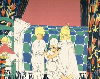 Vintage 1920s children's book Art Deco illustration Janet Laura Scott bedtime children praying digital download printable instant image