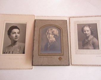 Antique Photographs of Women Set of Three, Set of Three Vintage Photos of Women of various ages, Vintage photos, Antique photos