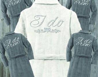 I Do Plush Terrycloth Bridal Robe Bundle WHITE BRIDAL