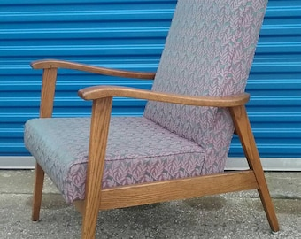 Mid century modern high back lounge chair vintage oak.