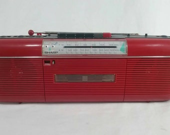 Retro red sharp radio cassette boombox vintage tape player
