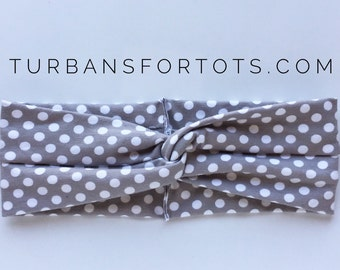 Gray Polka Dot : turban headband