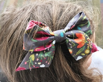 Great Gray Blooms  : retro baby bow
