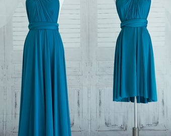 Teal blue Bridesmaid Dress Sweet heart Wrap Convertible Infinity Dress Evening Dresses-C23#B23#