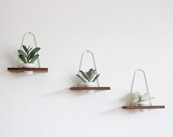 Modern Hanging Wall Planter Walnut Set of 3
