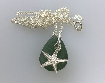 sterling silver sand cast starfish pendant with dark green sea glass