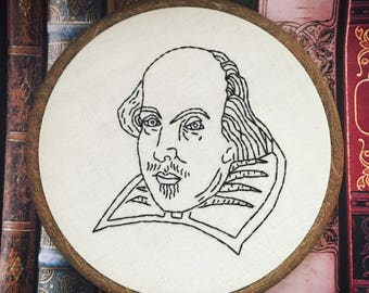 Shakespeare. Hand Embroidery. Hoop Art. Wall Hanging. Book Quote. Book Lover. Literature Gift. Home Decor.