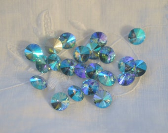 12 Aqua Glacier Blue 8mm 1122 Rivoli SWAROVSKI ELEMENTS crystal 1122 39ss ss39 Aquamarine