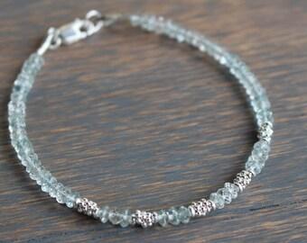 Aquamarine Beaded Bracelet, March Birthstone Bracelet, Gemstone Beaded Bracelet, Aquamarine and silver bracelet, Womens Bracelet,