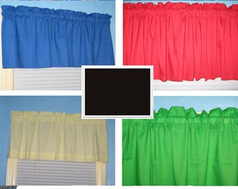 Solid Blue Red Yellow Green Black  Lined and Unlined curtain valance