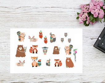 Planner stickers with Aztec woodland animals, small cute woodland animals