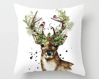 Deer Pillow Cover - Christmas Decorative Throw Pillow - Christmas Cushion - Christmas Decor - Seasonal Pillow - Aldari Home