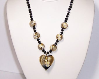 Heart Necklace, Murano Bead Necklace, Statement necklace