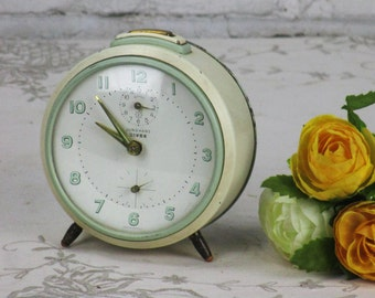 RESERVED PATTY Vintage Junghans Alarm Clock Mechanical Wind Up Retro Collectible Table Desk