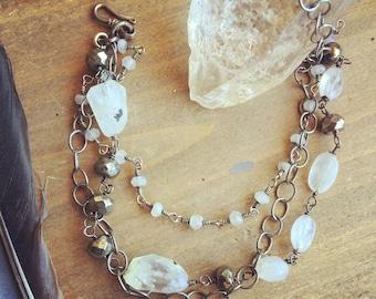 Astral dance*Moonstone Pyrite Bracelet* Oxidized Sterling & Moonstone bracelet* Triple-strand Moonstone Pyrite Oxidized Silver Brace