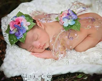 Baby fairy wings and hair piece photo prop, custom newborn fairy butterfly wings, flower crown, realistic fairy wings and crown