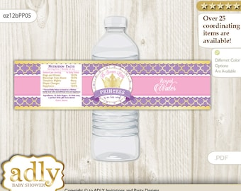 Royal Princess Baby Shower Water Bottle Wrappers, water Label, - it's a Royal Purple Pink, Crown - oz12bPP5