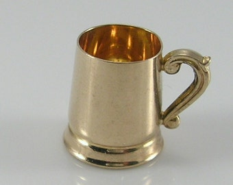 Vintage 3D 9ct Gold Beer Tankard Stein Charm.H/MK 1964
