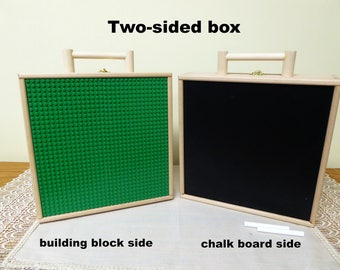 Wooden Toy Box/Solid Wood Carryall with Chalkboard/Kids Building Block Box/Educational Toy/Travel Box for Plastic Blocks/Toy Carrier/Art Box
