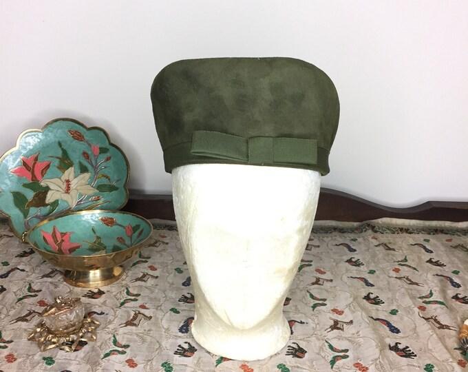 Vintage Estate Olive Drab Green Suede Pillbox Hat