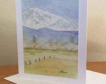 Pacific Northwest, Mt. Baker original watercolor painting greeting card. For him, birthday, for her, all occasion, mountain, trees, pasture