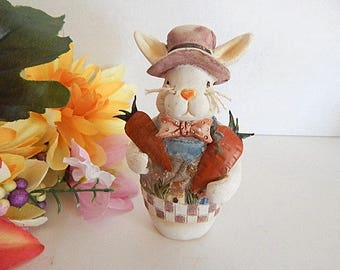Garden Bunny Figurine Hand Painted White Rabbit Colorful Resin Vintage 1990's Spring and Easter Decoration
