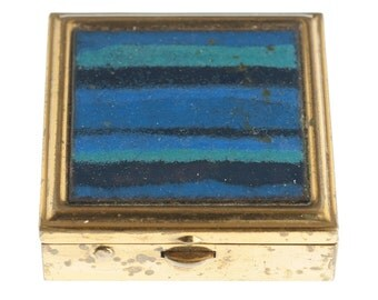 Blue Striped Gold Plated Pillbox
