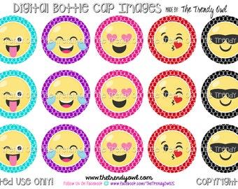 "Emoji Faces! Emoticon Digital Bottle Cap Images - INSTANT DOWNLOAD - 1"" Bottle Cap Images 4x6 - 107"