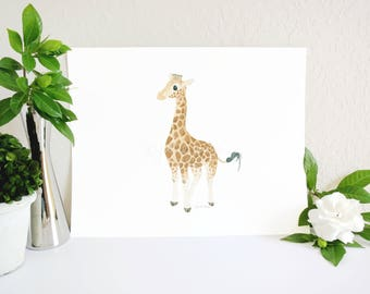 Giraffe Art Print, Giraffe Nursery Decor, Jungle Nursery, Zoo Nursery, Jungle Baby Gift, Safari Nursery Print, Safari Decor, Baby Room Art
