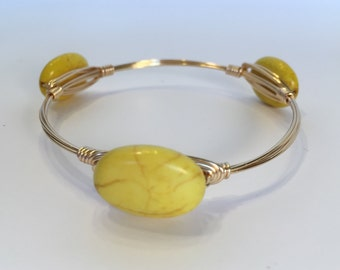 Yellow Oval Magnesite Wire Wrapped Bangle, Wire Wrapped Bracelet, Wire Bangle, Wire Wrap Bangle