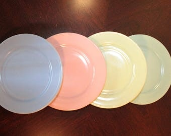 FOUR -  Set of Four Hazel Atlas Pastelware Small Plates from the Children's Hostess Party Set