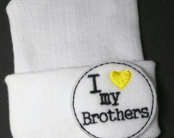 """Newborn Hospital Hat. Perfect for Pregnancy Announcement! Newborn Hospital Beanie. White  Hat with """"I 'yellow heart' my Brothers"""" Exclusive!"""