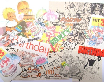 Birthday party embellishments: 40 vintage paper pieces handcut from books. Ephemera pack for scrapbooks, journals, collage, cards EP522