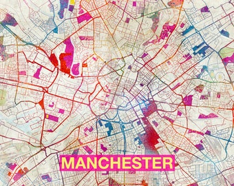 Map Of Manchester | Etsy
