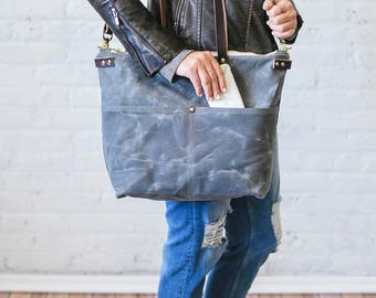 The Sawyer, Ellie Jane Bags, Waxed Canvas and Leather Bags Handmade in Cleveland