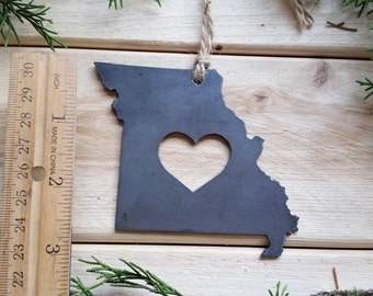 Missouri State Christmas Ornament Rustic Raw Steel Personalize Engrave Love LA Metal Holiday Decoration Stocking Stuffer House Warming Gift