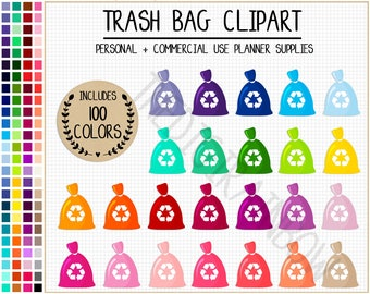 SALE 100 TRASH BAG clipart garbage clipart house chores clipart house stickers cleaning planner stickers rainbow Erin Condren Happy Planner
