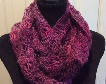 Hand knit lacy infinity scarf, ready to ship