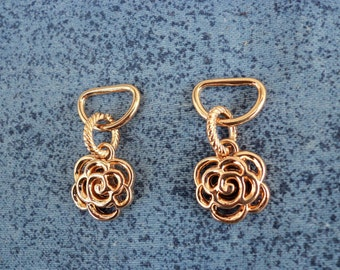 2 pcs D-ring metal with an ornament,35mmX18mm,decoration for bag, purse, color gold.A6